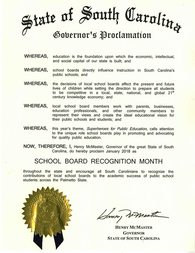 Download Governor McMaster's 2018 School Board Recognition Month proclamation.