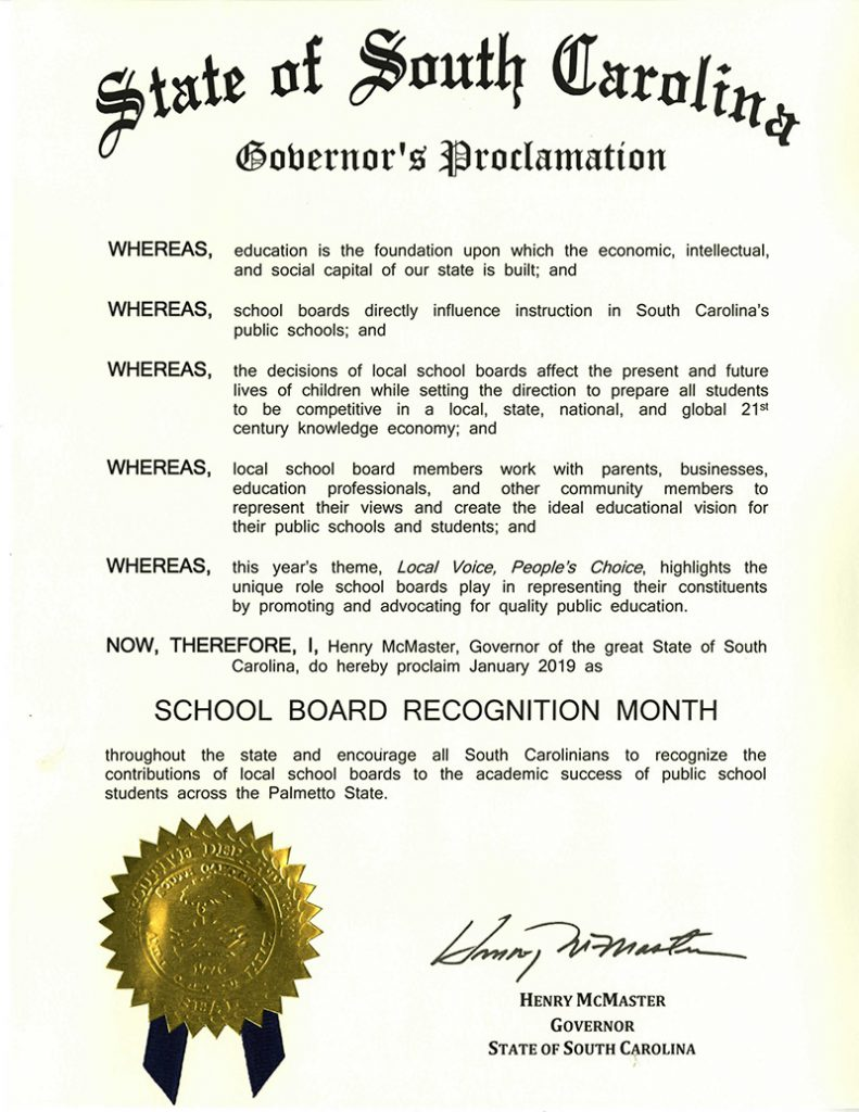 Download Governor McMaster's 2019 School Board Recognition Month proclamation.